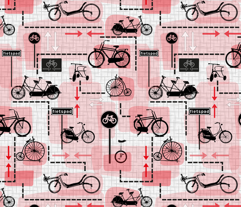 Dutch bicycles fabric by blijmaker on Spoonflower - custom fabric