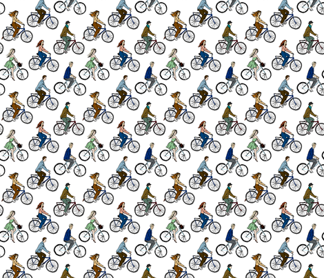 Young People on Bicycles fabric by svetlana_prikhnenko on Spoonflower - custom fabric