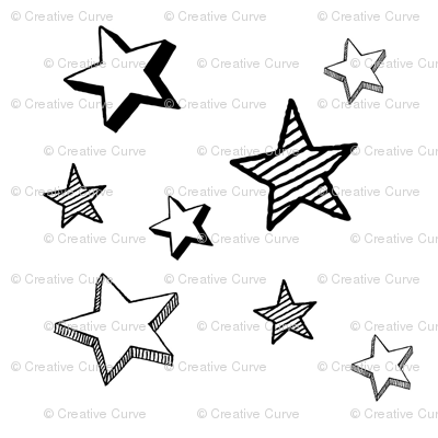 3D Stars in black and white