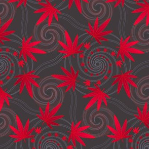 ★ SPIRALING WEED ★ Red & Dark Gray - Medium Scale/ Collection : Cannabis Factory 1 – Marijuana, Ganja, Pot, Hemp and other weeds prints