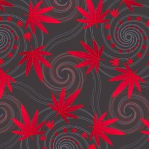 ★ SPIRALING WEED ★ Red & Dark Gray - Large Scale/ Collection : Cannabis Factory 2 – Marijuana, Ganja, Pot, Hemp and other weeds prints
