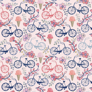 Biking for Ice Cream - Small - Pink, Navy, Blue, Blush