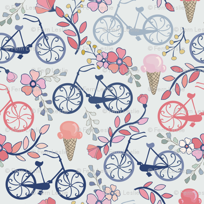 Biking for Ice Cream - Tiny - Blue, Pink, Navy, Blush