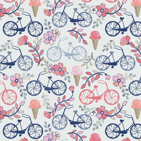 Biking for Ice Cream - Tiny - Blue, Pink, Navy, Blush fabric by fernlesliestudio on Spoonflower - custom fabric