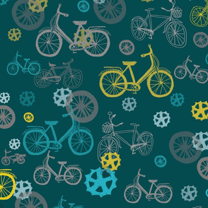 Bicycles wheels and mechanical parts // pastel bikes on green background
