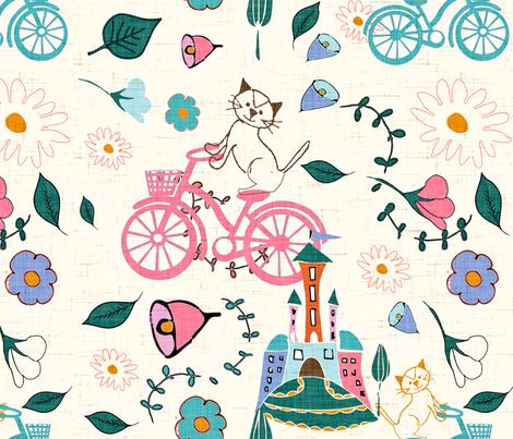 kitten bike fabric by bruxamagica on Spoonflower - custom fabric