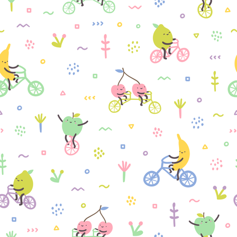 Fruit cycling fabric by kondratya on Spoonflower - custom fabric