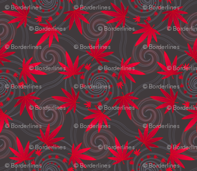 ★ SPIRALING WEED in RED and GRAY ★ Small Scale Print/ Collection : Cannabis Factory 1 – Marijuana, Ganja, Pot, Hemp and other weeds