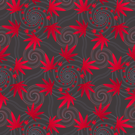 ★ SPIRALING WEED in RED and GRAY ★ Small Scale Print/ Collection : Cannabis Factory 1 – Marijuana, Ganja, Pot, Hemp and other weeds fabric by borderlines on Spoonflower - custom fabric