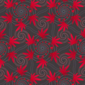 ★ SPIRALING WEED ★ Red & Dark Gray - Small Scale/ Collection : Cannabis Factory 1 – Marijuana, Ganja, Pot, Hemp and other weeds prints