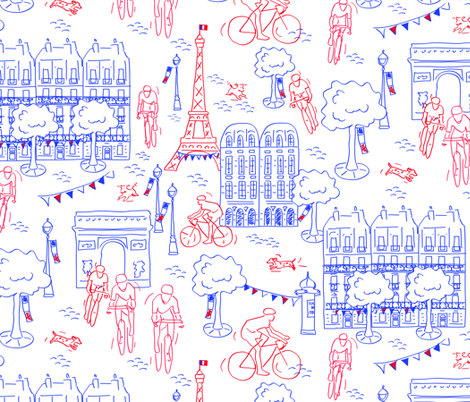 Tour de France arrival fabric by charlotte_lorge on Spoonflower - custom fabric