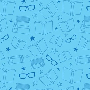 Blue Outlined Books and Glasses