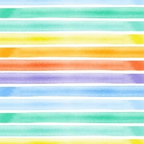 watercolor stripes - rainbow - v2