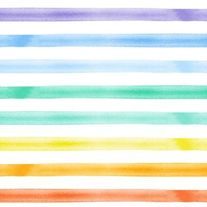 watercolor stripes - rainbow