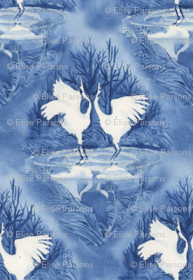Hooded Cranes Indigo