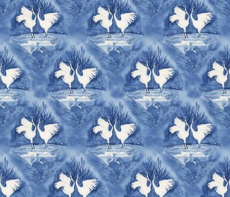 Hooded Cranes Indigo fabric by eliseparsons on Spoonflower - custom fabric