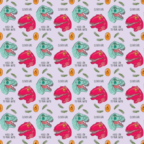 Jurassic Girls - dinosaurs on purple // 2 x 2in fabric by semi_feral on Spoonflower - custom fabric