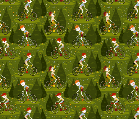 Cycling in Tuscany fabric by gnoppoletta on Spoonflower - custom fabric