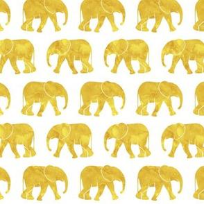 baby elephants - mustard