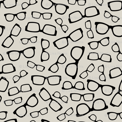 Black Glasses on Creamy Taupe