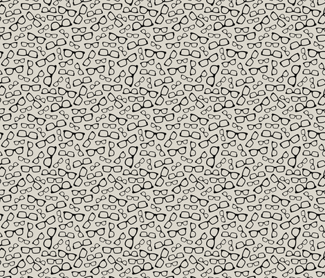 Black Glasses on Creamy Taupe fabric by lisanorrisartworks on Spoonflower - custom fabric
