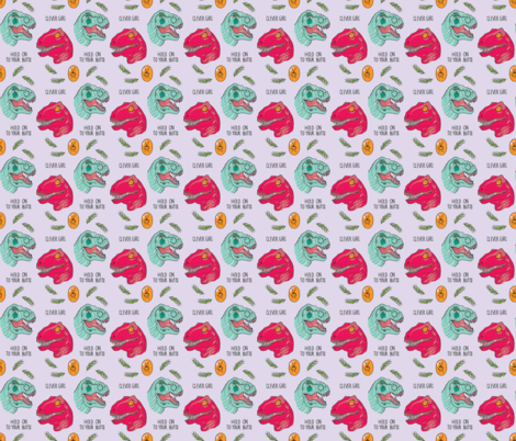 Jurassic Girls - dinosaurs on purple // 3 x 3in fabric by semi_feral on Spoonflower - custom fabric