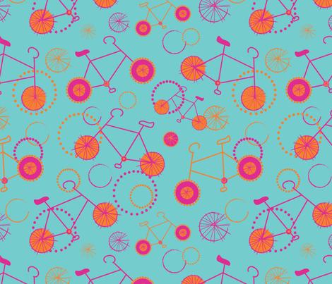 Bicycles pink orange on aqua-01 fabric by orangepoppydesigns on Spoonflower - custom fabric