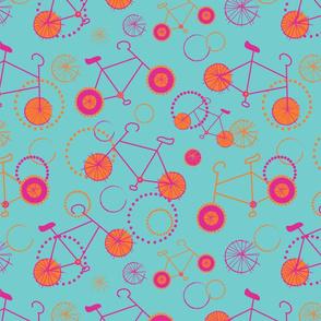 Bicycles pink orange on aqua-01
