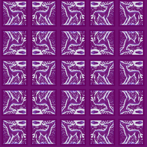 "Sighthound Blockprint -Framed for 1 1/2"" collars-Magenta- fabric by cloudsong_art on Spoonflower - custom fabric"