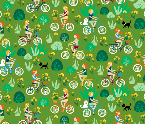 Summer bicycle ride through nature (olive) fabric by heleen_vd_thillart on Spoonflower - custom fabric