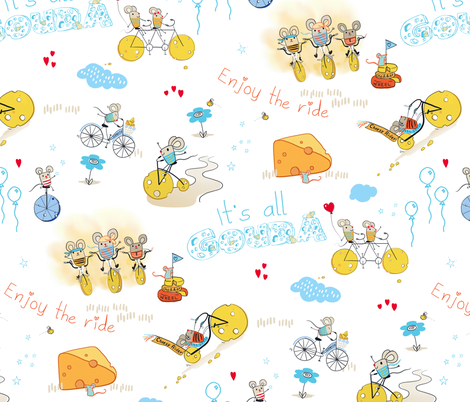 cheesy riders - mices on cheesy bikes fabric by designed_by_debby on Spoonflower - custom fabric