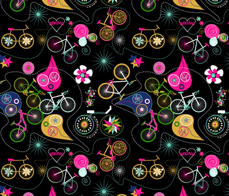 Cycledelic Black fabric by stasiajahadi on Spoonflower - custom fabric