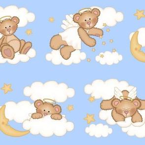 Angel Bear Moon Star Cloud Nursery Blue
