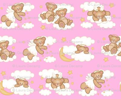 Angel Bear Moon Star Cloud Nursery Pink Girl