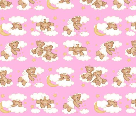 Angel Bear Moon Star Cloud Nursery Pink Girl fabric by decamp_studios on Spoonflower - custom fabric