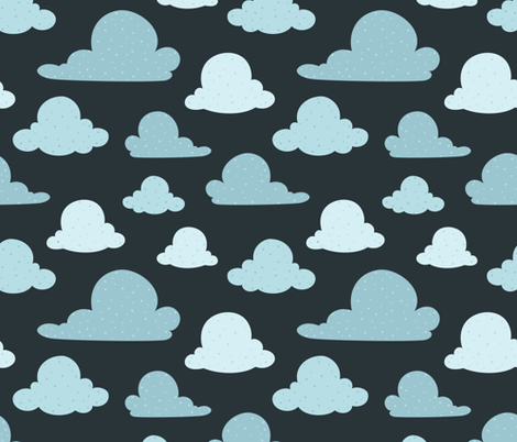 Navy Scattered Clouds fabric by lisanorrisartworks on Spoonflower - custom fabric