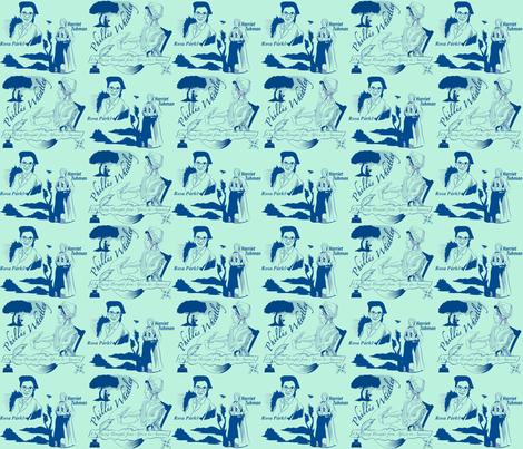 mintyblue heroines copy fabric by scifiwritir on Spoonflower - custom fabric