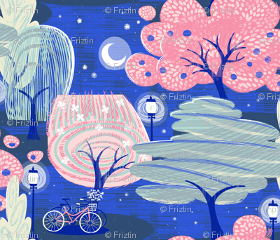 Night Time In The Park M+M Cobalt by Friztin