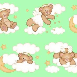 Angel Bear Moon Star Cloud Nursery Mint Green