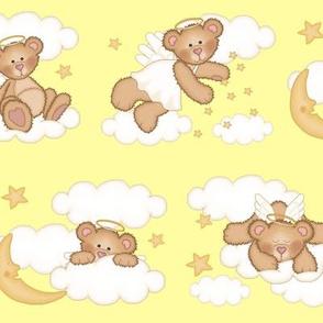 Angel Bear Moon Star Cloud Nursery Yellow