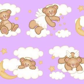 Angel Bear Moon Star Cloud Nursery Purple