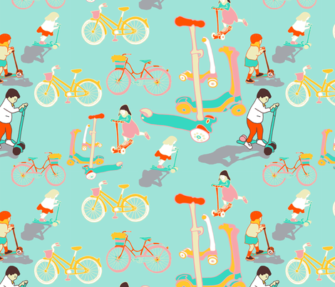 scooters and bicycles fabric by claireybean on Spoonflower - custom fabric