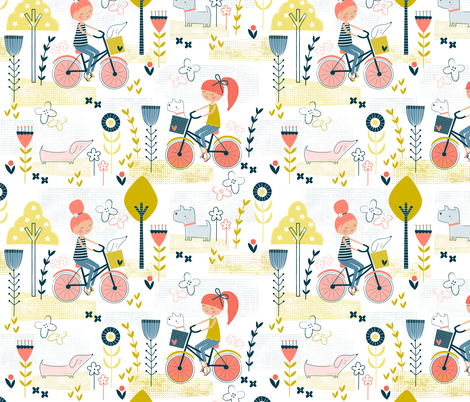 Best friends bicycle ride! fabric by sarah_knight on Spoonflower - custom fabric