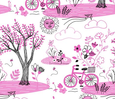 Blooming Bicycle Planter fabric by vickykatzman on Spoonflower - custom fabric