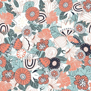 Whimsical Blue and Orange Floral