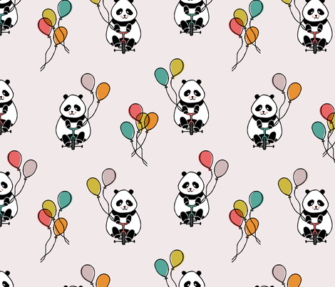 pandas_bikes-01 fabric by mumbojumbo on Spoonflower - custom fabric