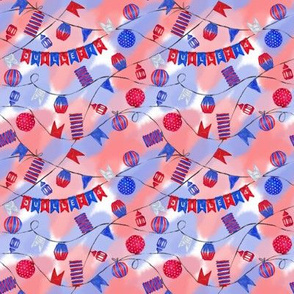 Bastille Day Seamless Pattern on Patriotic Background