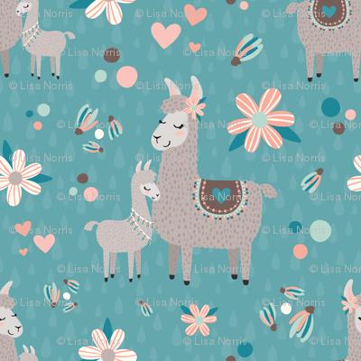 Pastel Mama Llama with Baby