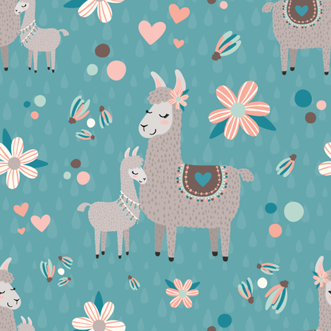 Pastel Mama Llama with Baby fabric by lisanorrisartworks on Spoonflower - custom fabric