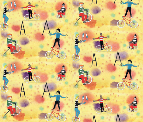 Cycling for clowns and acrobats fabric by amanda_jane_textiles on Spoonflower - custom fabric